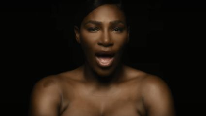 Serena Williams sings while topless to raise breast cancer awareness
