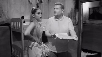 Watch James Corden and Ariana Grande absolutely freak out in terrifying escape room