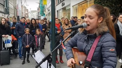 13-year-old busker wows crowds with her stunning cover of  Lady Gaga and Bradley Cooper's 'Shallow'