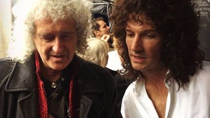Behind-the-scenes footage from 'Bohemian Rhapsody' captures Brian May performing an incredible guitar solo!