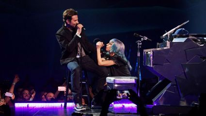 Lady Gaga surprises audience by bringing Bradley Cooper on stage to sing 'Shallow' live in Vegas!