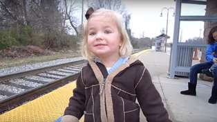 This video of a three-year-old seeing a train for the first time is the cutest thing you'll see all day!