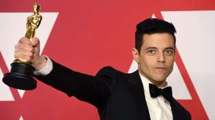 Rami Malek treated by paramedics following Best Actor Oscar win