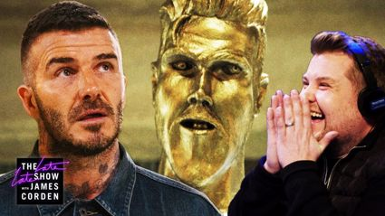 James Corden pranks David Beckham with fake statue unveiling  - and it is HILARIOUS!