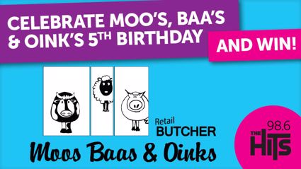 WIN with Moo's, Baa's and Oink's for their 5 BIRTHDAY!