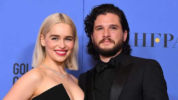 Game of Thrones co-stars Emilia Clarke and Kit Harington. Photo / Getty