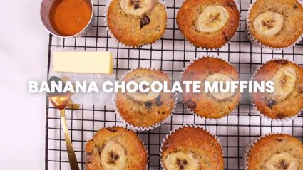 Quick and easy banana choc chip muffins recipe