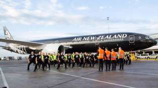 Watch Air New Zealand staff's passionate haka farewell for the All Black