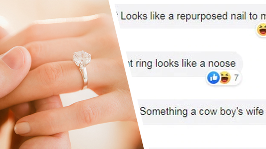 Bride's quirky engagement ring gets shamed online for looking 'like a no...