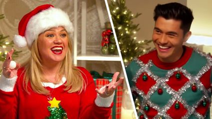 Watch Kelly Clarkson and Last Christmas star Henry Golding play 'Eggnog Pong'