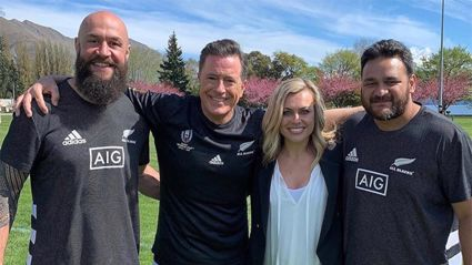Laura McGoldrick and All Blacks teach 'Late Show' host Stephen Colbert how to play rugby