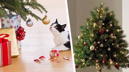 These half-Christmas trees are perfect for keeping decorations out of reach of furry friends