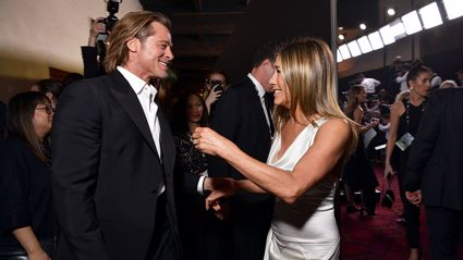 Brad Pitt and Jennifer Aniston share SAG Awards reunion kiss that sends internet into meltdown