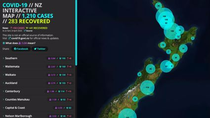 Kiwi creates interactive map that shows all the cases of Covid-19 throughout New Zealand