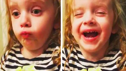 Hilarious video of little girl pretending to like her mum's cooking goes viral
