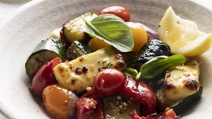 Try out this tasty Mediterranean Vege and Haloumi Traybake recipe from New World