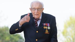 Hero Captain Tom Moore who raised millions for charity celebrates 100th birthday
