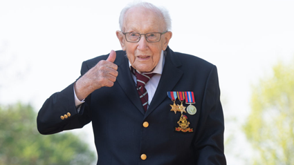 Hero Captain Tom Moore who raised millions for charity celebrates 100th birthday