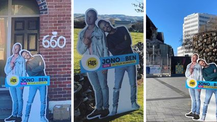 Jono and Ben's cardboard cut got STOLEN while on tour of New Zealand