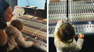 Clark Gayford shares adorable snap of Neve 'helping' Kiwi singer in recording studio