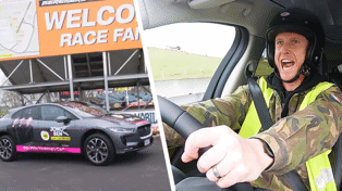Watch what happened when Jono Pryor took Mike Hosking's Jaguar to the dragway