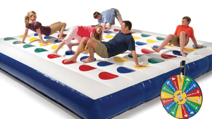 It turns out a giant inflatable version of Twister exists and we really want to try it out