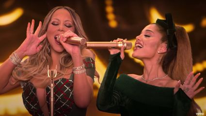Everyone is mind-blown by Mariah Carey and Ariana Grande's Christmas whistle tone duet
