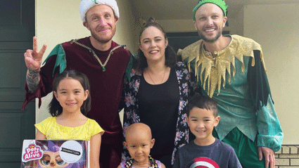 Jono and Ben deliver special Christmas surprise for brave 5-year-old Kiwi