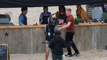 Celebrity chef Gordon Ramsay is seen at Lusty Glaze beach filming his new BBC One TV show, 'Gordon Ramsay's Future Food Stars' in June. Photo / Getty Images